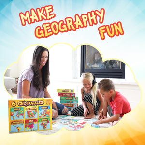 6+ GeoPuzzles Set in One Box — Educational Geography Jigsaw Puzzles for Ages 4 and up