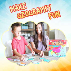 GeoPuzzle Asia — Educational 50 Piece Geography Jigsaw Puzzle — Ages 4 and up