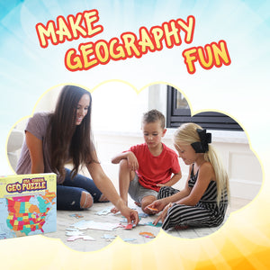 GeoPuzzle USA and Canada — Educational 69 Piece Geography Jigsaw Puzzle — Ages 4 and up