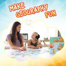 Load image into Gallery viewer, GeoPuzzle World — Educational 68 Piece Geography Jigsaw Puzzle — Ages 4 and up
