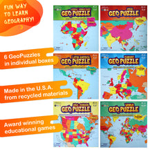 Load image into Gallery viewer, Set of 6 GeoPuzzles in Individual Boxes — Educational Geography Jigsaw Puzzles — Ages 4 and up