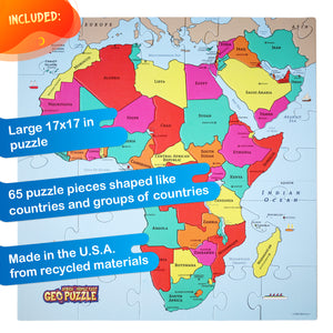 GeoPuzzle Africa and Middle East — Educational 65 Piece Geography Jigsaw Puzzle — Ages 4 and up