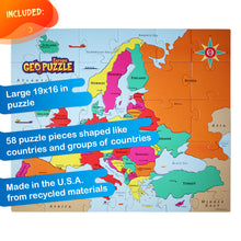Load image into Gallery viewer, GeoPuzzle Europe — Educational 58 Piece Geography Jigsaw Puzzle — Ages 4 and up