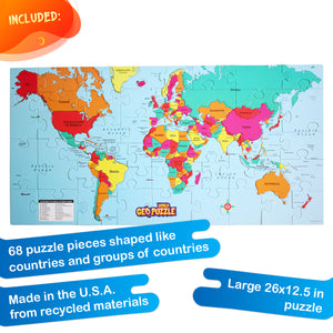 GeoPuzzle World — Educational 68 Piece Geography Jigsaw Puzzle — Ages 4 and up
