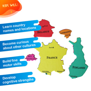 GeoPuzzle Europe — Educational 58 Piece Geography Jigsaw Puzzle — Ages 4 and up