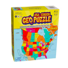 Load image into Gallery viewer, GeoPuzzle USA and Canada — Educational 69 Piece Geography Jigsaw Puzzle — Ages 4 and up