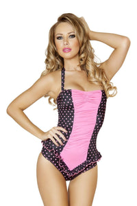 Black and Pink Polkadot Pinup Bodysuit, Rompers, Roma Costume, Need 2 Rave