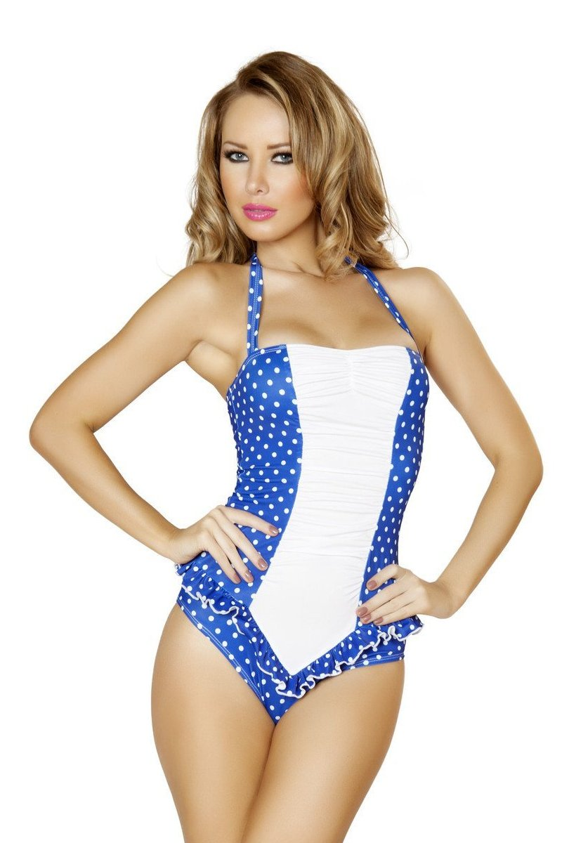 Blue and White Polkadot Pinup Bodysuit, Rompers, Roma Costume, Need 2 Rave