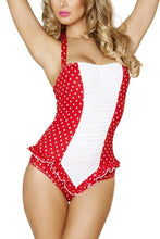 Load image into Gallery viewer, Red and White Polkadot Pinup Bodysuit