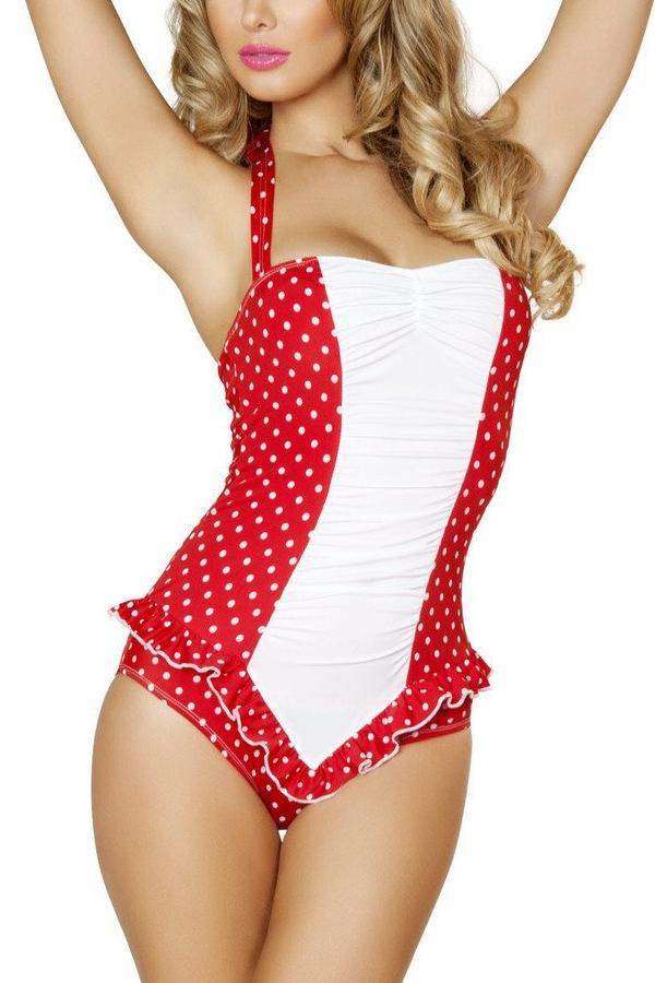 Red and White Polkadot Pinup Bodysuit