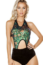 Load image into Gallery viewer, 1pc Cutout Romper with Velvet Shorts and Sheer Top