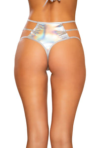 Shiny Metallic High-Waisted Shorts with Strap Detail