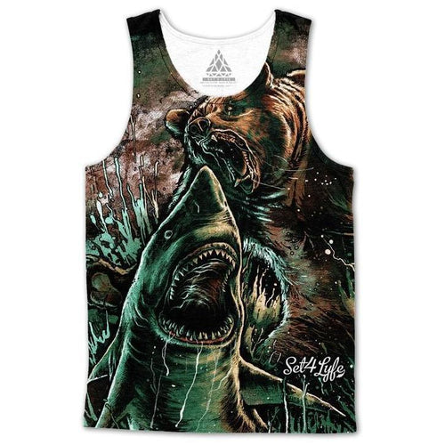 Set 4 Lyfe - BEAR VS SHARK TANKTOP - Clothing Brand - Premium Tanktop - SET4LYFE Apparel