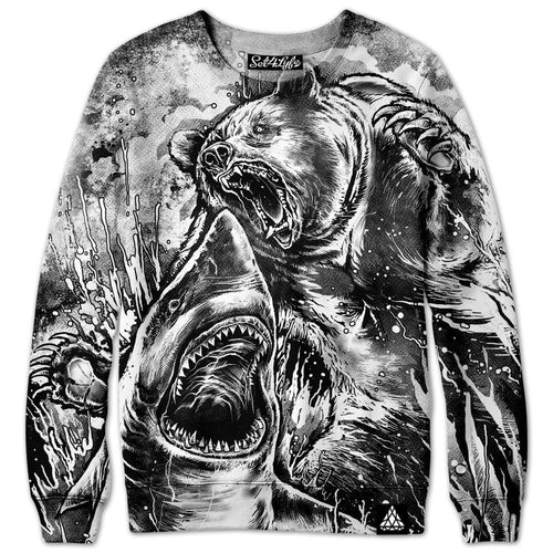 Set 4 Lyfe - BEAR VS SHARK (BLACK & WHITE EDITION) SWEATSHIRT - Clothing Brand - Premium Sweatshirt - SET4LYFE Apparel