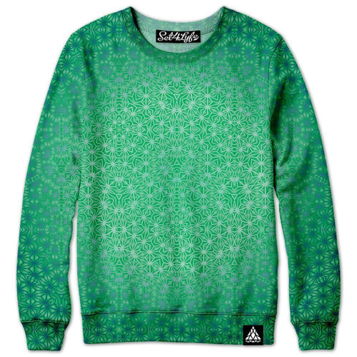 Set 4 Lyfe / Rooz Kashani - GREEN COSMIC STARGRID SWEATSHIRT - Clothing Brand - Premium Sweatshirt - SET4LYFE Apparel