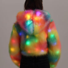 Load image into Gallery viewer, LED Light Up Rainbow Faux Fur Jacket, , Shenzen Top Focus Industrial, Need 2 Rave