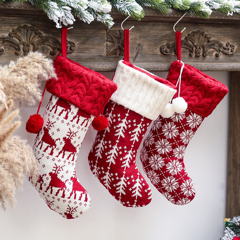 Christmas red and white elk knitted socks decorations