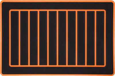 Yeti Roadie 20 Cooler Pad: Black over Orange - Vertical Faux Teak - 6mm