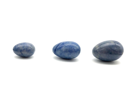 Drilled Yoni Eggs - Blue Aventurine