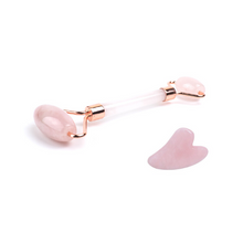 Load image into Gallery viewer, Rose Quartz Crystal Face Roller And FREE Rose Gua Sha - Chakra Va