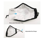 reusable face mask with pm2.5 activated carbon filter showing back side of mask