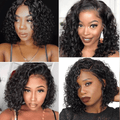Cranberry Water Wave Lace Closure Bob Wigs Short Peruvian  Human Hair Wigs For Black Women