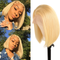 Cranberry Short Bob Lace Front Wigs Straight 613 Blonde Malaysian Human Hair Wigs