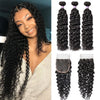 Cranberry Malaysian Virgin Hair 100% Human Hair Weave Water Wave 3 Bundles With Closure