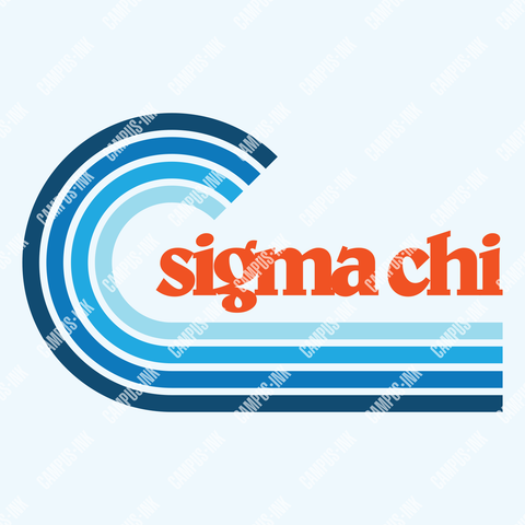 Sigma Chi Cool Blue Wave Design - Campus Ink