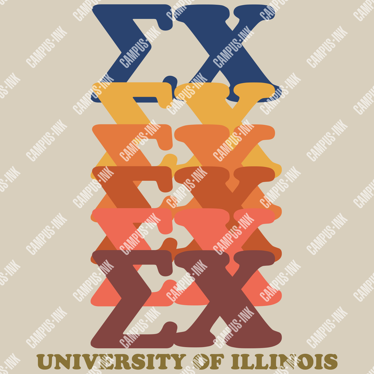Sigma Chi 70's Letters Design - Campus Ink