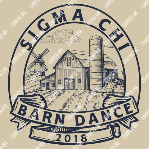 Sigma Chi Barn Dance Farm Logo Design - Campus Ink