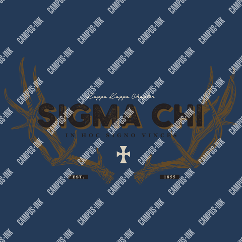 Sigma Chi Deer Antler Design - Campus Ink