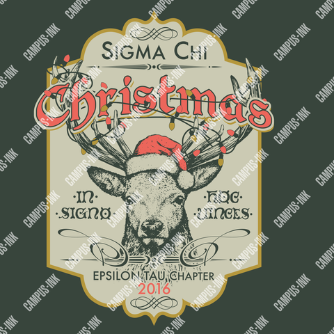 Sigma Chi Christmas Deer Design - Campus Ink