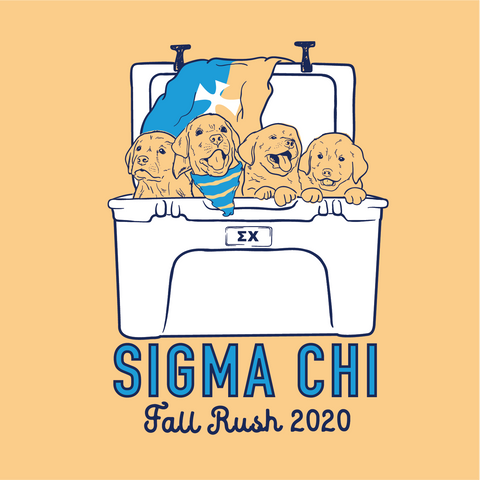 Sigma Chi Dogs In Coolers with Flags Design - Campus Ink