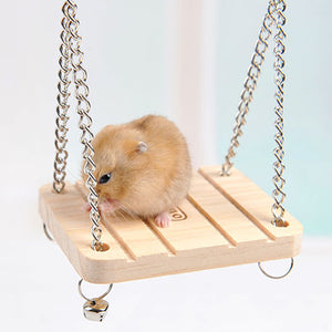 Wooden Hanging Pet Hammock Small Swing  Cage Accessories