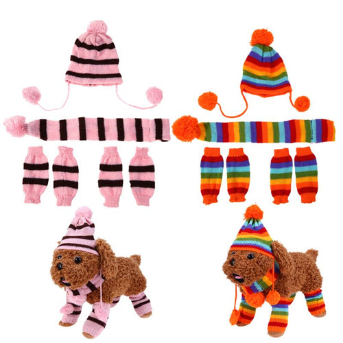 Autumn Winter Pet Dog Warm Clothes Stripe Knitted Hat Scarf Dog Coats Set Cute Wool Material Clothing Set for Pet Dogs