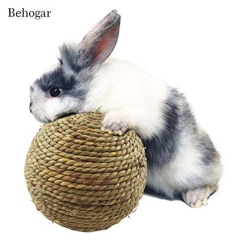 Behogar Interesting Natural Grass Rope Ball Hand-woven Ball Chew Toys for Small Animal Activity