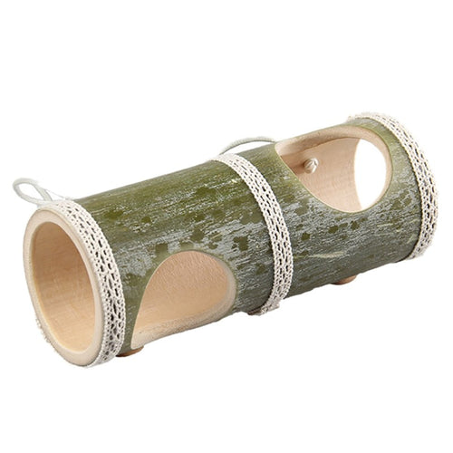 Playground Natural Bamboo Pet Play Straight Through Tunnel with Two HolesAccessories