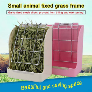 Small Pet   Fixed Food Container Grass Feeder Spring Straw Frame Grass Basket