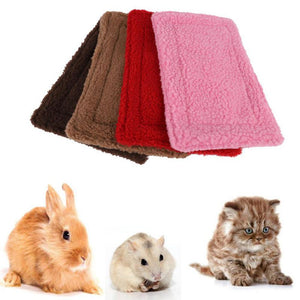 Small Animal Blanket Mat  House Pad Quilt Double Sided Fleece Warm Nest Bedding