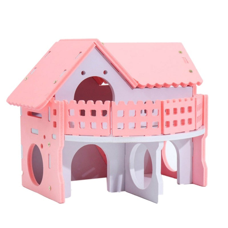 Pink Cage Self Assembly Wood Plastic Hut Hideout Small Pets