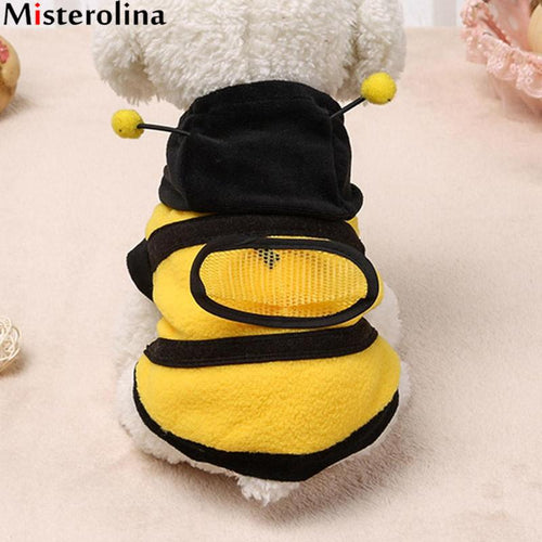 Lovely Bee Dog Clothes Winter Cat Products Bee Apparel Coat Hoodie Costume Outfit Dog Clothes For Cute Pets Clothing Supplies