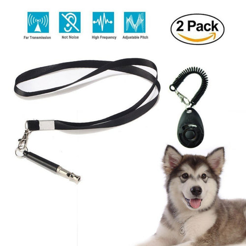 Whistle and Clicker Training Premium Adjustable Pitch Ultra Sonic Whistle and Pet Training Clicker