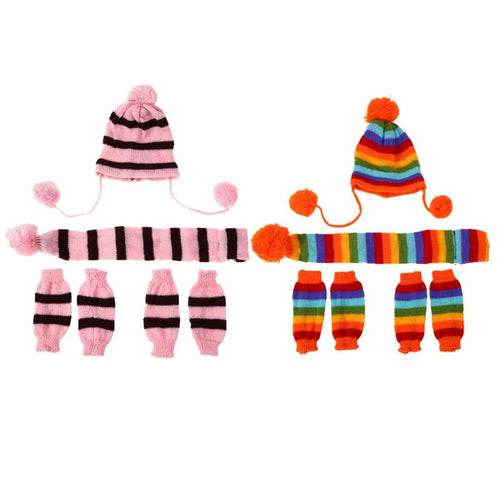 Wool Stripe Knitted Hat Scarf Gloves  Pet Clothing