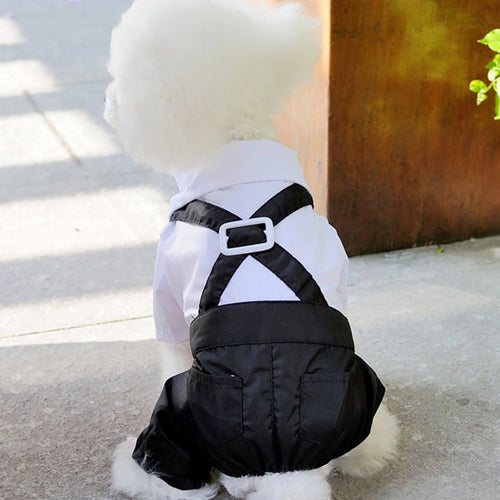 Pet Clothes Puppy Shirt Dog Wedding Tuxedo Western Style Suit with Bow Tie Apparel Clothing For Dogs Coat