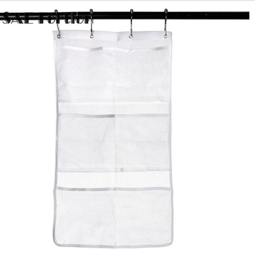Creative 6 Pockets Bath Organizer Hanging Shower Curtain Mesh Bathroom Shower Bath Hanging Mesh Organizer Caddy Storage SQN5727