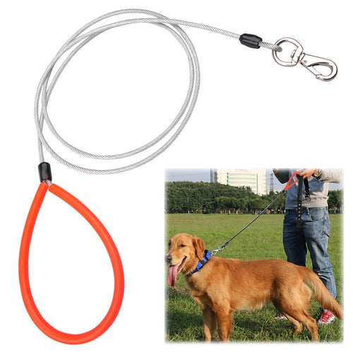 New Dog Leash Steel Wire Anti-bite Lead Strap Sliver/Black