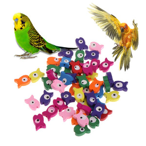 OOTDTY 50 Pcs/Bag Parrot Toy Wooden Colorful Fish Multipurpose