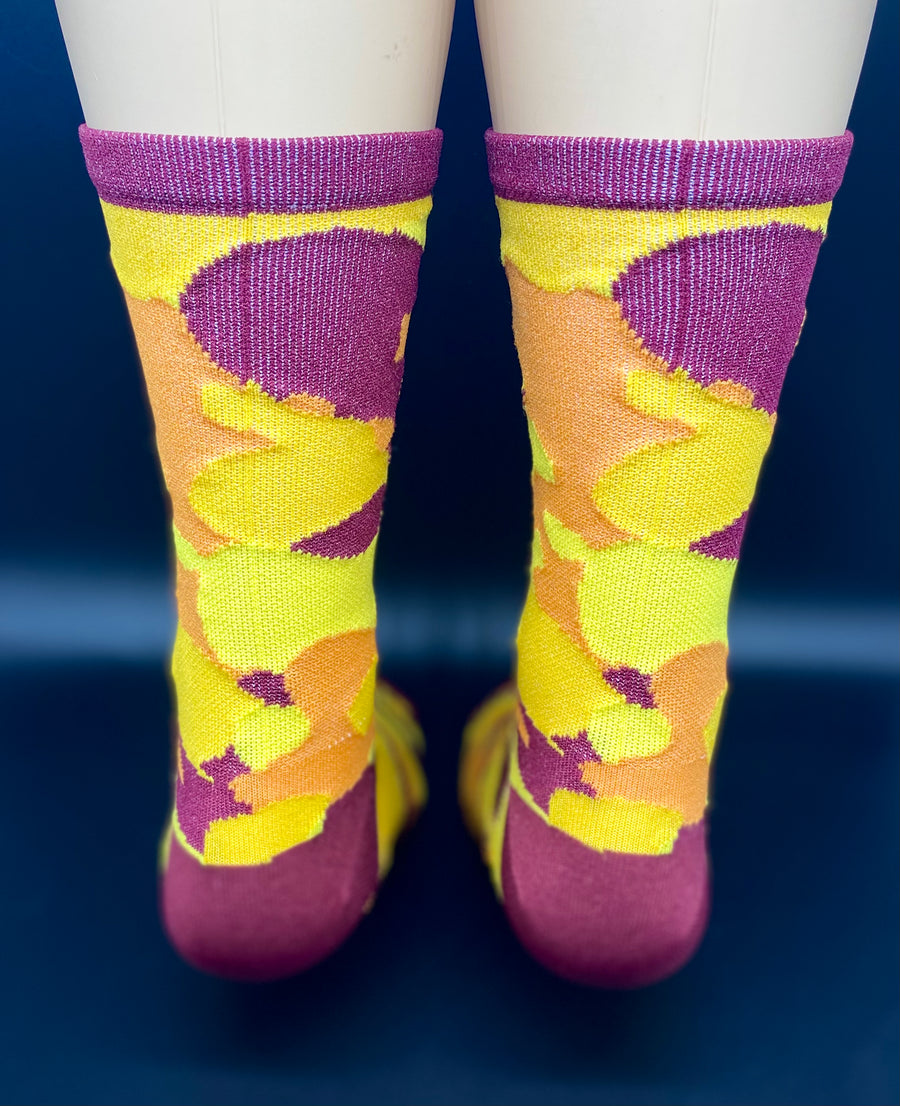 "Orange/Yellow/Vino Camo, 6"" Men's and Women's compression cycling socks"