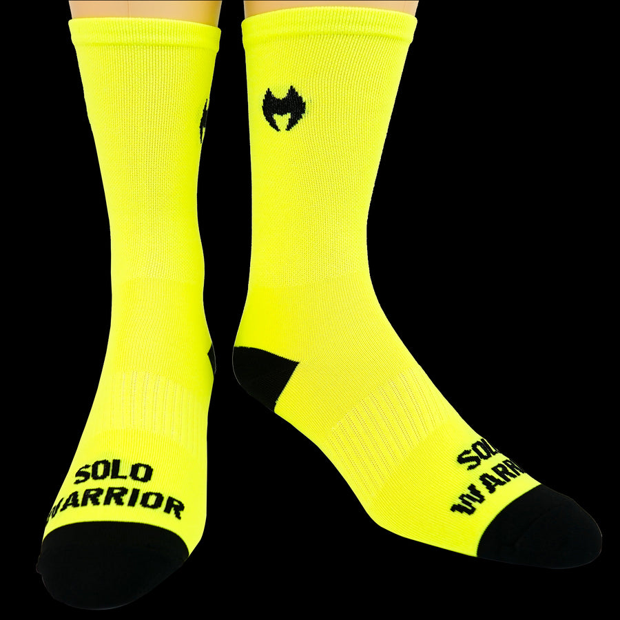 "The New 2.0 6"" Men's and Women's, Solid Fluorescent Green, Compression, Cycling socks."